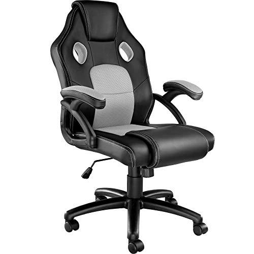 TecTake 800770 Racing Bürostuhl, Gaming Stuhl mit Wippmechanik, Kunstleder Chefsessel Drehstuhl, höhenverstellbarer Schreibtischstuhl, ergonomisch - Diverse Farben - (Schwarz-Grau | Nr. 403454)