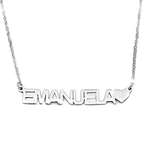 Beloved Collana donna girocollo con nome in acciaio - lunghezza regolabile - anallergica - ciondolo donna, color argento (Emanuela)