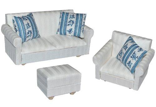 alles-meine.de GmbH 3 TLG. Set: Miniatur Wohnlandschaft / Sofa Couch + Sessel + Hocker mit Kissen - für Puppenstube Maßstab 1:12 - Puppenhaus Puppenhausmöbel Sessel Wohnzimmer Kl..