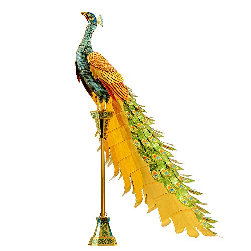 piececool 3D DIY Metal Modell Modellbausatz-Puzzles für Erwachsene - Colorful PEACOCK-100pcs