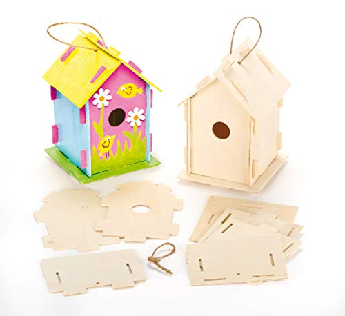 Mini Casette di Legno per Gli Uccelli Baker Ross (Confezione da 2) Casette per Uccelli da Dipingere e Decorare per Bambini, Arte e Artigianato e Progetti da Giardino, 17 Cm