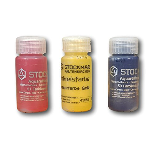 STOCKMAR Watercolor Paint: 3 Primary Circle Color Assortment 20 ML (RED, Yellow, Blue)