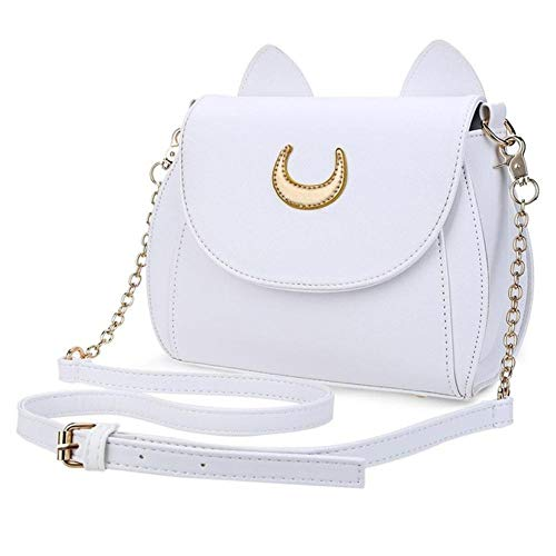 JNML PU Leder Damen Messenger Crossbody Kleine Tasche Sailor Moon Damen Handtasche Schwarze Katze Form Kette Umhängetasche, Weiß, Markentasche