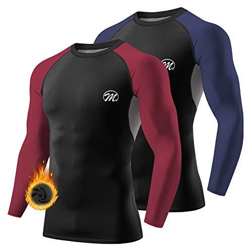 MEETWEE Tee Shirt Thermique Homme, Manche Longue Maillot de Compression Base Layer sous-Vêtements Thermique pour Sports Ski Running