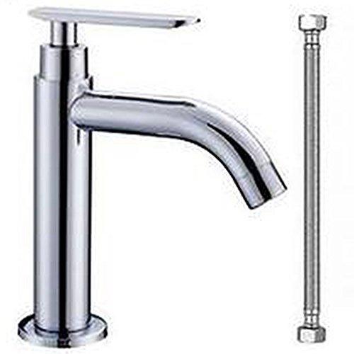 洗面用 シングルレバー 単水栓 2種類から選べる 単水栓のみ 取り付けホース付き 手洗いボウル用 洗面台 蛇口 水道 円形 (単水栓+取り付けホース)