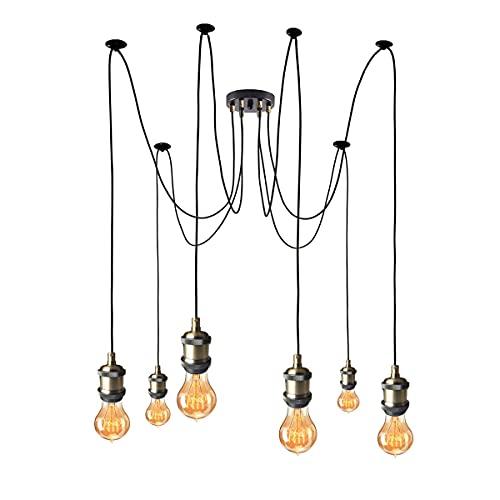 Lampadario a sospensione vintage vintage con cavo regolabile da 2 m, stile retrò industriale E27 portalampada a sospensione in bronzo con rosa da soffitto nera (6 lampade)