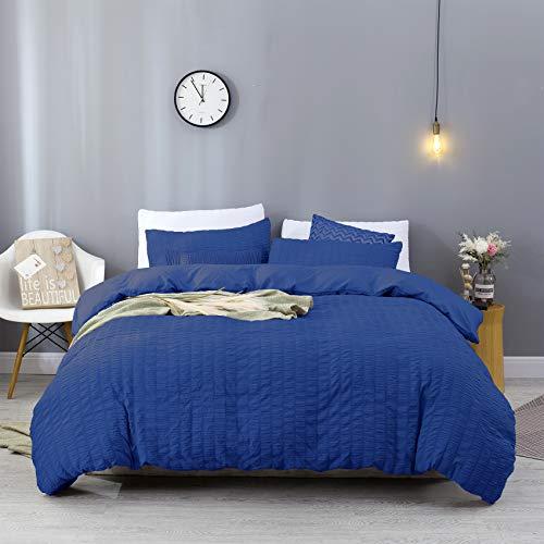 EstoulenDuvetCover Full / Queen Size, 100%WashedMicrofiberBeddingSet3Piece, SoftandLuxury Stripe Textured Seersucker Duvet Coverwith ZipperClosure&Corner Ties (Navy Blue,Full / Queen)