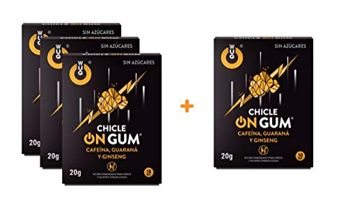 OFERTA 3+1 WUG CHICLE ON GUM - Chicle Ideal para Deportes Extremos, Cafeína, Guaraná, Ginseng, Sabor Menta, Pack 4 cajas (4 x 10 uds)