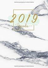 Agenda 2019: Semainier simple & graphique, motif marbre menthe et or, Din A5, Calendrier annuel, Phrases motivant (Janvier à Décembre 2019) (French Edition)