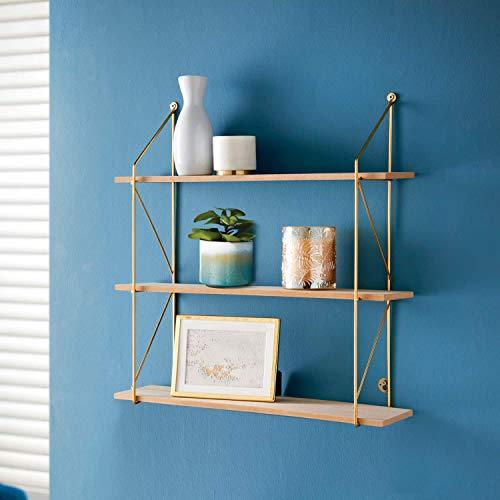 Stunning Tromso 3 Tier Shelf - Gold, Storage Rack Kitchen Home Decorative Shelf, Living Room, Bedroom Room, Garden, Eye-Catching For Walls