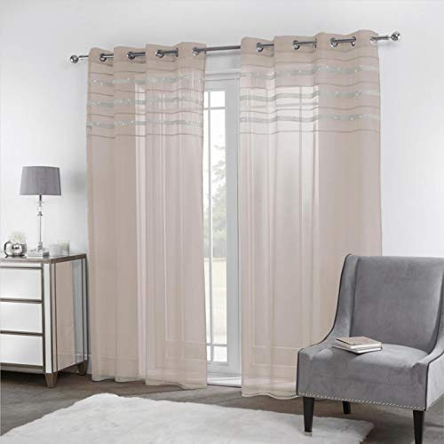 Sienna Latina Pair of 2 x Diamante Glitzy Voile Net Curtains Eyelet Ring Top Window Panels, Natural Beige - 55' wide x 87' drop