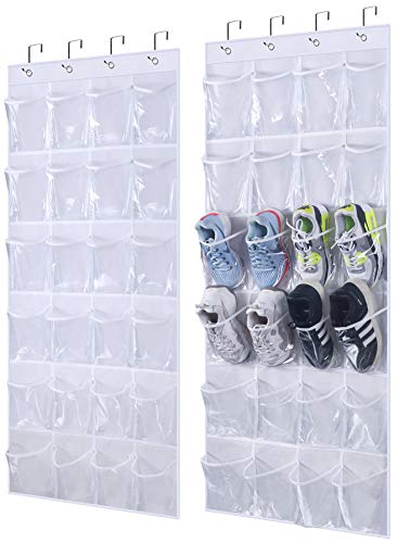 AOODA Clear Hanging Shoe Organizer Over the Door Shoe Bag Hanging Organizer Rack Closet Storage with 24 Large Pockets, 2 Packs (White)