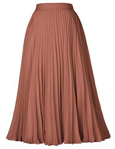Kate Kasin Women's High Waist Elastic Pleated Midi Skirt Brown Size S KK659-5