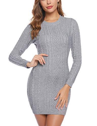 Aibrou Robe Pull Femme Col Rond à Manche Longues Robe Mi-Longue en Tricoté Elegant Pullover Robe Chic Casual Automne Hiver Chaud Chic, Gris, L