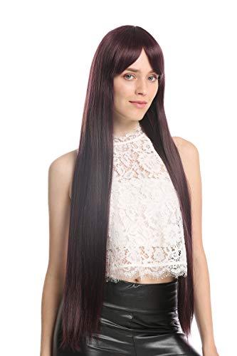 WIG ME UP - VK-7-DEEPVIOLSP31 Perruque dame extrêmement longue lisse violet foncé mèches brun rouge