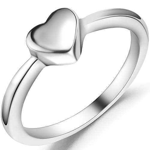 Jude Jewelers Stainless Steel Heart Shaped Wedding Engagement Promise Statement Anniversary Ring (Silver, 7)