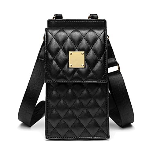 Bolso de Teléfono móvil para Mujer Bolso de Hombro de Cuero Crossbody Bag Correa Ajustable Pequeño Bolso Bandolera con Ranuras para Tarjeta Negro