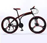 VKEKIEO Adult Mountain Folding Bike 26 Inch Mountain Trail Bike High Carbon Steel Full Suspension Frame Bicycles 21 Speed ??Gears Dual Disc Brakes Mountain Bicycle