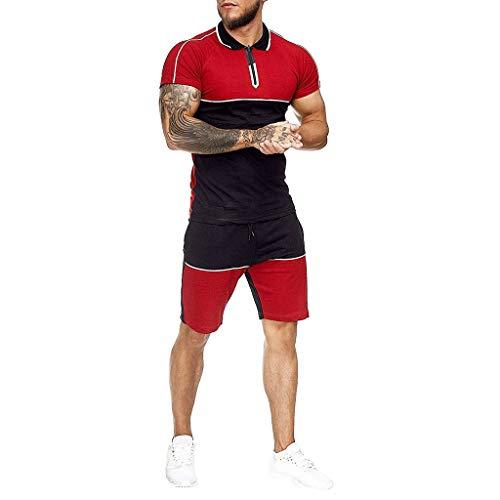 Trainingsanzüge Herren Sportanzug Summer Home Stripe Farbkollision Kurzarm T-Shirts Shorts Sportswear-Sets Große Größen Jogging Fitness Sport Dünne Outfit, Rot, Large