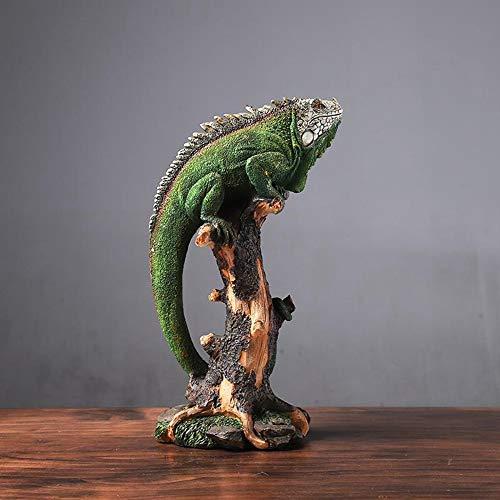 Statue Statuette Sculture Figurine,Jungle Chameleon Tropical Reptile Lizard Design Figurine Moderne Creative Statue Opere d'Arte per Casa Soggiorno Orto Ornamenti Decor