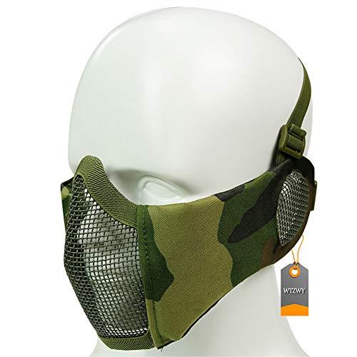 WTZWY Tactical Half Face Mesh Mask - Einstellbare Faltbare Airsoft-Maske mit Ohrabdeckung, schützender Unterschutz für Paintball CS BBS-Aufnahmen,Woodland