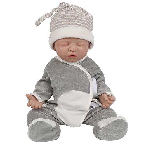 Vollence 46cm Poupées Bébé Entièrement en Silicone,Pas des Poupées en Vinyle, Poupée de Bébé en Silicone aux Yeux fermés, poupées de Nouveau-nés, poupées réalistes de bébés - Garçon
