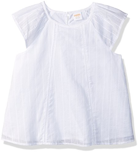Gymboree Girls' Big Flutter Sleeve Woven Top, White Embroidered Stripe, M
