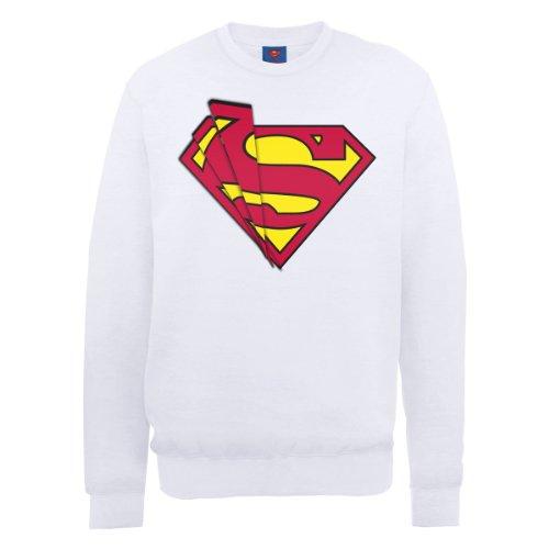 Dc comics DC0000936 Official Superman Shards Logo Sweat-Shirt, Blanc, S Homme