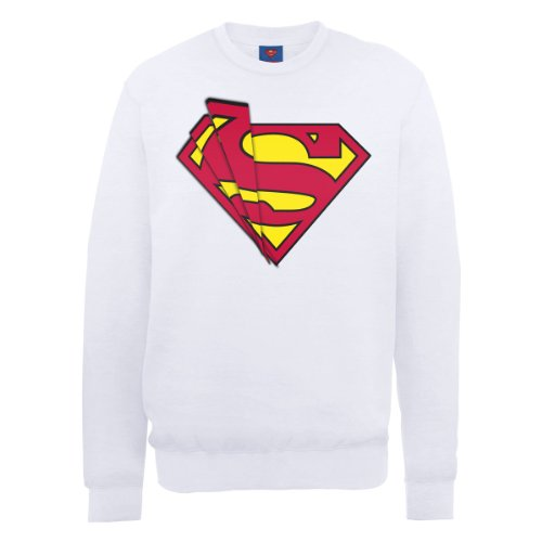Dc comics DC0000936 Official Superman Shards Logo Sweat-Shirt, Blanc, S Homme