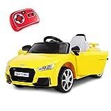 Playkin AUDI TT AMARILLO - Coche electrico niños bateria 12V con mando control +3 años juguetes infantiles coches de bateria
