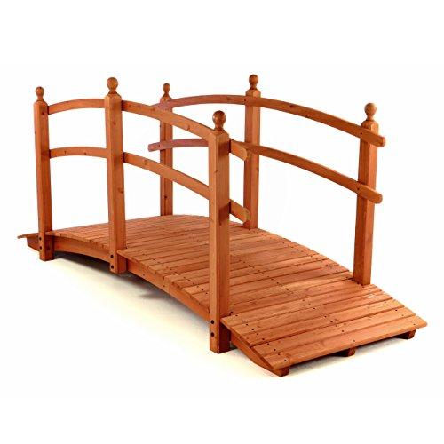 Nexos große Holzbrücke Teichbrücke Teich Garten Holz Brücke mit Geländer rot - braun
