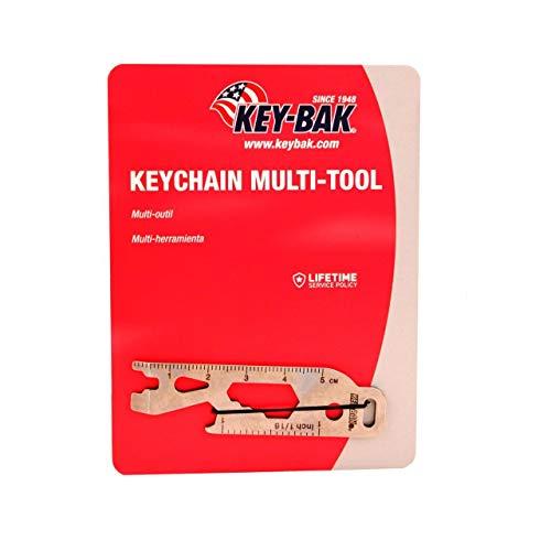 KEY-BAK Keychain Outil Multifonction (Décapsuleur, clé à Douille (1/4, 5/16, et 3/8), Tournevis Plat, Mini Levier, Rayons principales, et règle 2.8)