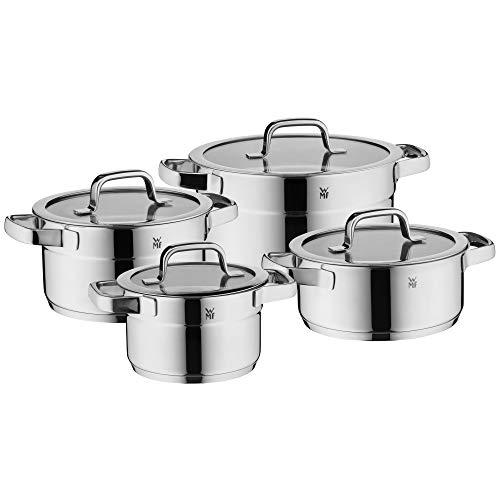 WMF Compact Cuisine - Batería de cocina para inducción (4 piezas, con tapa de cristal, acero inoxidable Cromargan pulido, sin revestimiento, escala interior