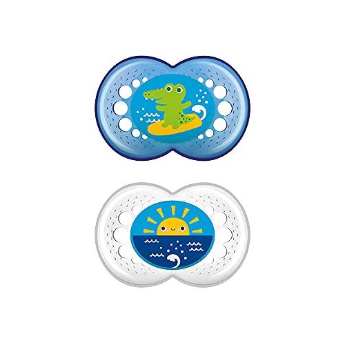 MAM Chupete Original S215 - Chupete con Tetina de Silicona SkinSoftTM ultrasuave, para Bebés de 16+ meses, Azul (2 unidades), con caja auto Esterilizadora, Versión Española