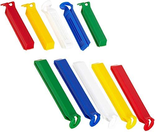 FACKELMANN Aromaclips Tecno, Verschlussclipse aus Kunststoff in 2 Größen, Verschlussklammern für Tüten (Farbe: Weiß/Blau/Gelb/Grün/Rot) Menge: (Bunt, 20 Stück)