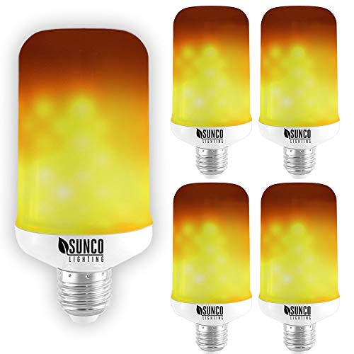 Sunco Lighting 4 Pack Flame Effect Light Bulb, 9W LED Flame Bulb, Flickering Fire for Home,...
