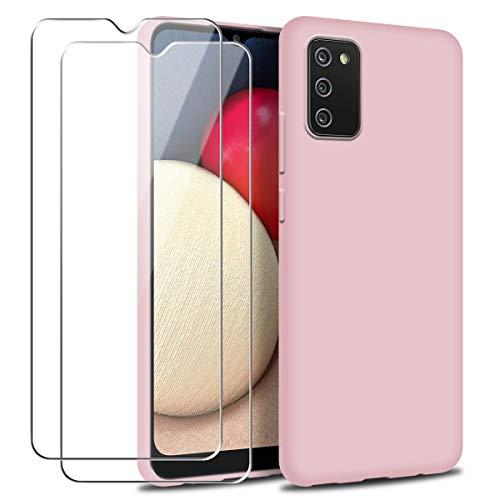 Funda para Samsung Galaxy A02S con Dos Cristal Templado Protector de Pantalla, Rosa Suave Líquido Silicona Protectora Carcasa para Samsung Galaxy A02S