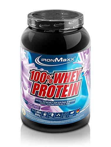 IronMaxx 100{5fa54319878ab1a12e0a9447f600b73517984dfe68fc1a8c787a1121dde5eb7f} Whey Protein – Proteinpulver auf Wasserbasis – hochwertiges Eiweißpulver für Proteinshake in 36 leckeren Geschmäckern – Cassis-Joghurt Geschmack – 1 x 900 g Dose