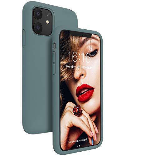 """JASBON Silikon Hülle Kompatibel mit iPhone 11,Seidig Glatt Touch Silicone Stoßfeste iPhone 11 Case, Gel Rubber Schutz Handyhülle für iPhone 11 (6,1"""") Pine Green"""