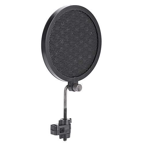 Dilwe 8cm Mikrofon-Popfilter, Swivel-Doppelschicht-Schallschutzhaube 360-Grad-Einstellbare Wind-Pop-Filter mit Halterung für Aufnahmestudio Mic-Zubehör (Schwarz)