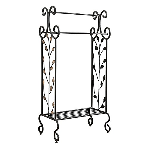 Kings Brand Furniture Black Metal with Gold Leaf Free Towel Rack Stand with Shelf