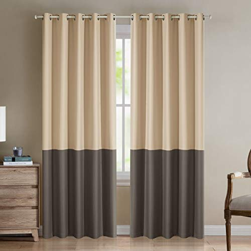 """LoyoLady Beige and Taupe Blackout Curtains 63 Inch Length 2 Panels Two Tone Grommet Top Curtains for Bedroom 100"""" W x 63"""" L"""