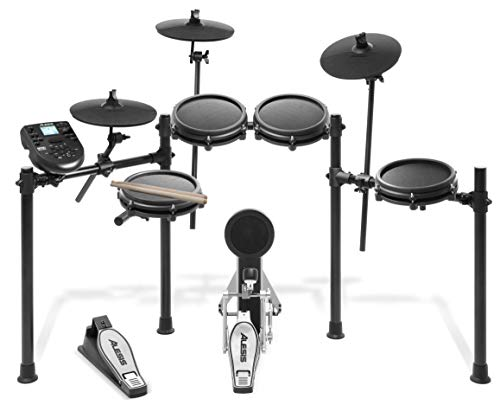 Alesis Drums Nitro Mesh Kit | Eight Piece All Mesh Electronic Drum Kit With Super Solid Aluminum Rack, 385 Sounds, 60 Play Along Tracks, Connection...
