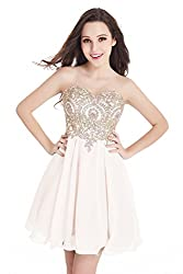 Junior's Ivory Applique embellished Lace Short Homecoming Dress