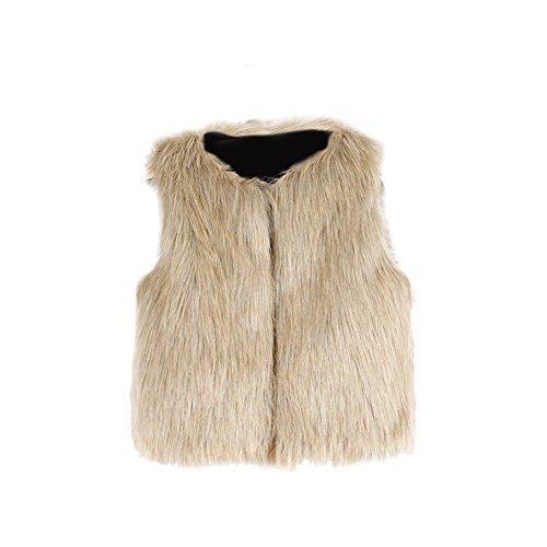 VLUNT Chaleco de Piel para Niños Ropa de Piel Sin Mangas Niña Abrigo Invierno Fur Vest Niña Chaleco Invierno (Camello)
