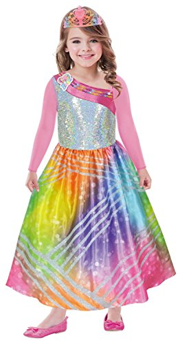 Amscan 9902375 Kinderkostüm Barbie Rainbow Magic mit Krone, 116 cm
