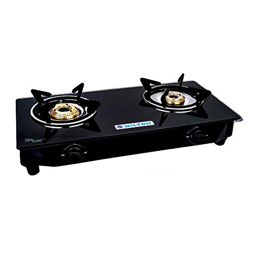 MILTON Black Toughened Glass Top Nano Compact Durable Gas Stove with MS Frame & Brass Burners, 2 Burner (ISI Certified)