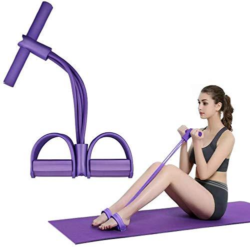 FIVE BEE Upgrade 4 Tubi Multifunzione Leg Exerciser | Expander Bodybuilding Sit-up | Attrezzatura per l'allenamento con Corda Elastica | Pedal Resistance Band | Viola