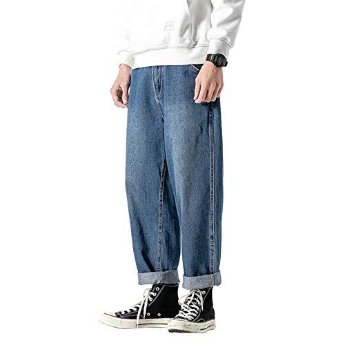 Tulared Cuffed Jeans Für Herren Mit Normaler Passform Washed Cotton Denim Comfort Classic Look Hose Bikerhose -Blau,2XL