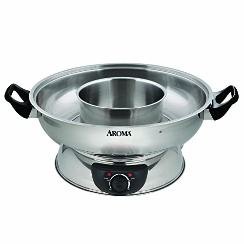 Aroma Stainless Steel Hot Pot, Silver (ASP-600)